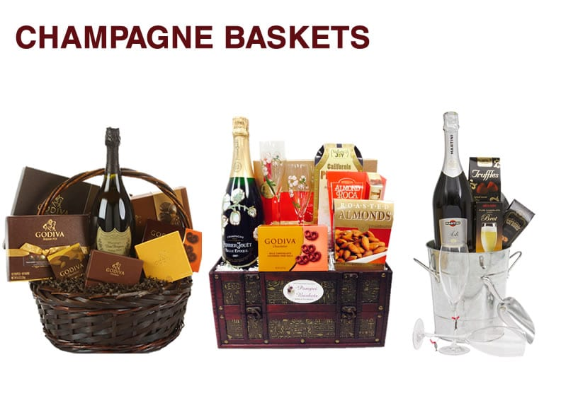 Three champagne baskets filled with Godiva chocolates in Hackensack, NJ