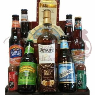 Man Cave Essentials Scotch & Beer Gift Basket
