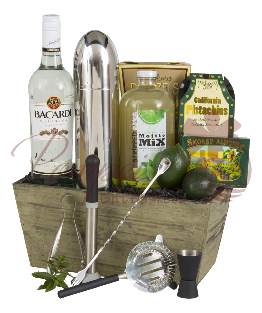Mojito Time Rum Gift Basket By Pompei Baskets
