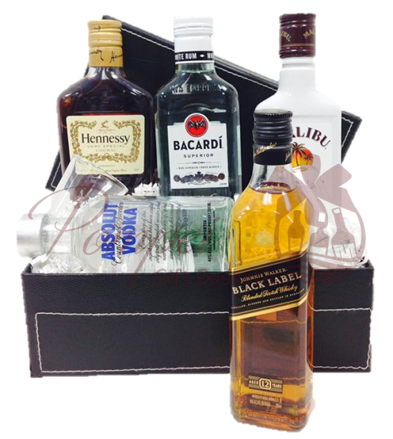 Sample Box Liquor Gift Basket by Pompei Baskets