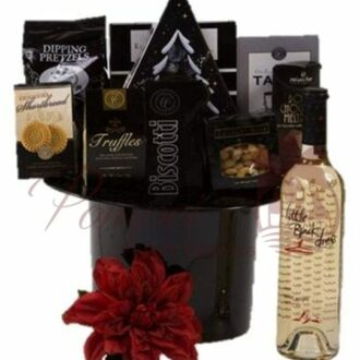 Night on the Town Wine Gift Basket, date night gift basket, white wine gift basket, top hat ice bucket
