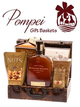 Sophisticated ReserveWhiskey Gift Basket, woodford gift basket, woodford reserve gift basket, engraved woodford reserve gift basket, gift baskets for men