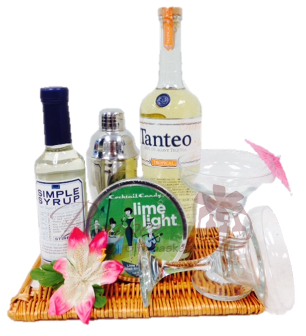 Tropical Tequila Cocktail Gift Basket by Pompei Baskets