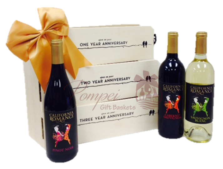 Classic Romance Wine Gift Set by Pompei Baskets