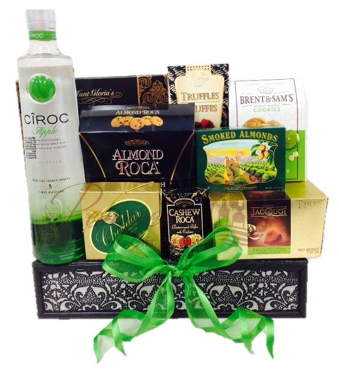 Green with Envy Vodka Gift Basket, Ciroc Apple Gift Basket, Ciroc Apple Gift Baskets