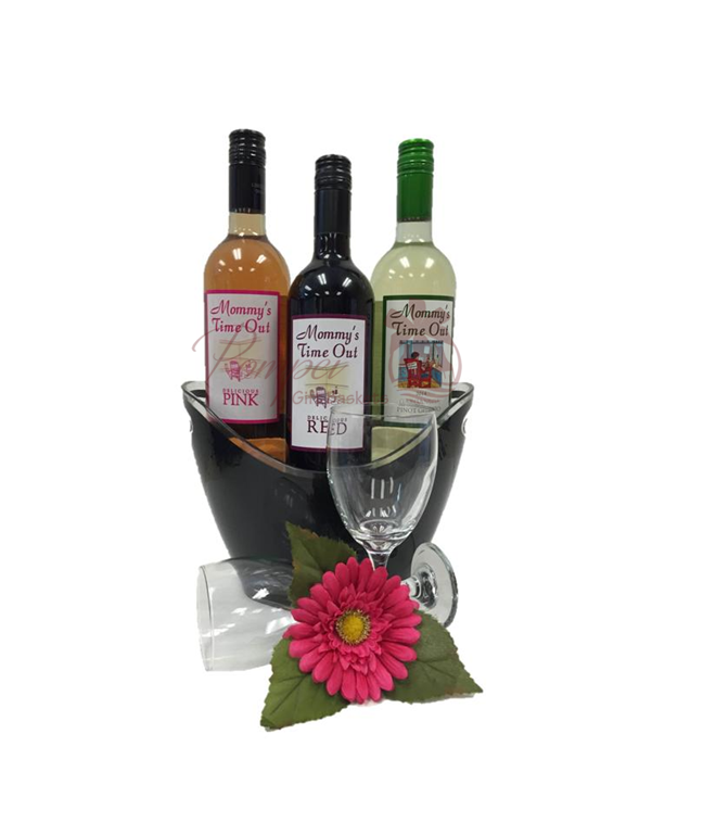 Baby Gift Basket Nyc : Three for me wine gift basket by pompei baskets