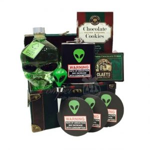 Abduction Warning Vodka Gift Basket, Alien Head Vodka Gifts, Alien Themed Gift Basket, Unique Vodka Gift Basket, Outerspace Vodka Gifts, Outer Space Vodka Gifts