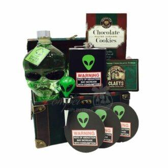 Abduction Warning Vodka Gift Basket, Alien Head Vodka Gifts, Alien Themed Gift Basket, Unique Vodka Gift Basket, Outerspace Vodka Gifts, Outer Space Vodka Gifts