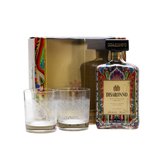 Disaronno wears etro holiday gift set from pompei baskets