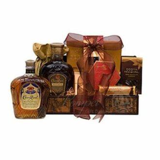 Reserved Royal Treats Whiskey Gift Basket, Crown Royal Reserve Gift Basket, Crown Royal Reserve Gifts, Crown Royal Reserve Whiskey Gifts, Canadian Whiskey,