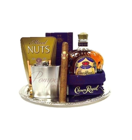The King's Choice Whiskey Gift Basket, Crown Royal Gift Basket, Whiskey Gifts, Whiskey Baskets, Whiskey and Cigar gifts, gifts for men