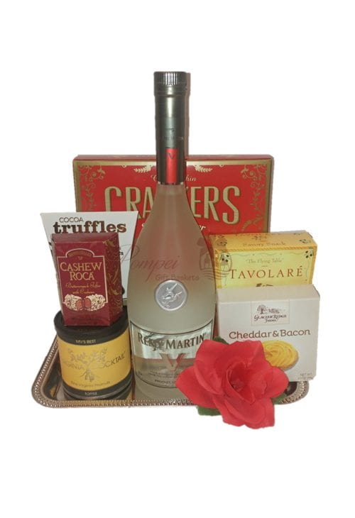 Guest of Honor Cognac Gift Basket, Remy Gift Basket, Remy White Gift Basket,