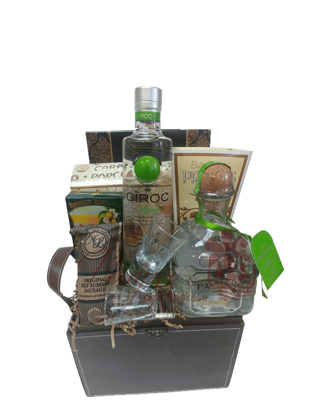 Give Me the Green Light Liquor Gift Basket, Liquor Gift Basket, Patron Gift Basket