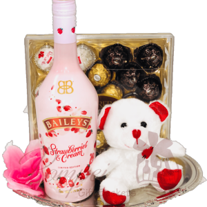 I Love You Beary Much Liqueur Gift Basket, Baileys Gift Basket, Valentines Day Gift Basket, Pink Gift Baskets, Unique Gift Baskets, Fun Valentines Day Gifts, Red Gift Baskets, Gift Baskets that say I Love You