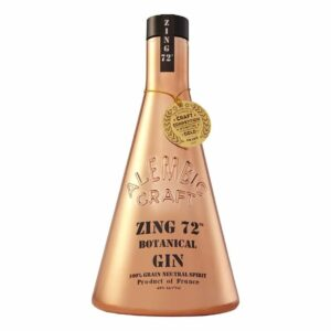 Zing 72 Botanical Gin, Copper Gin, beaker bottle gin, unique gin bottles, collectors bottle gin, alembic craft zing 72 botanical gin