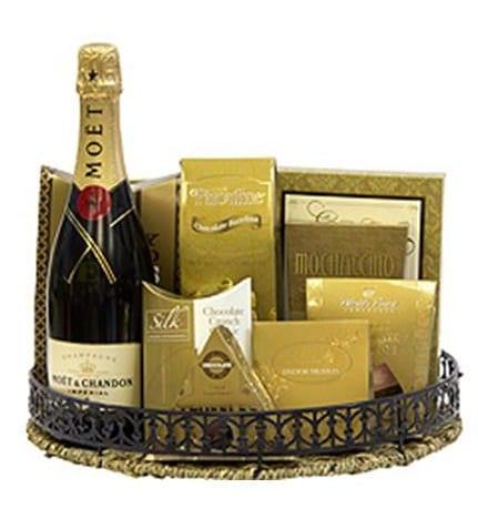 Moet Celebration Champagne Gift Basket, Moet Gifts NJ, Moet Gifts NY, Engraved Moet, Custom Moet Gift Basket, Personalized Moet Chandon Champagne Gift, Christmas Gift Basket