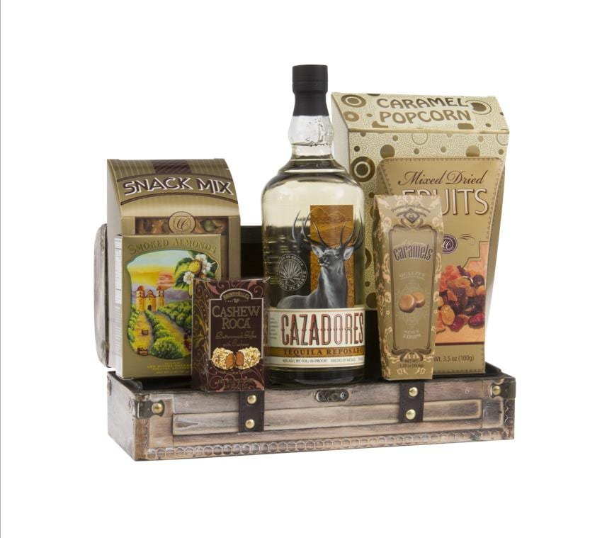 Hunter's Day Off Tequila Gift Basket, Cazadores Reposado Tequila Gift Basket, Tequila Gift Basket, Engraved Cazadores Gifts