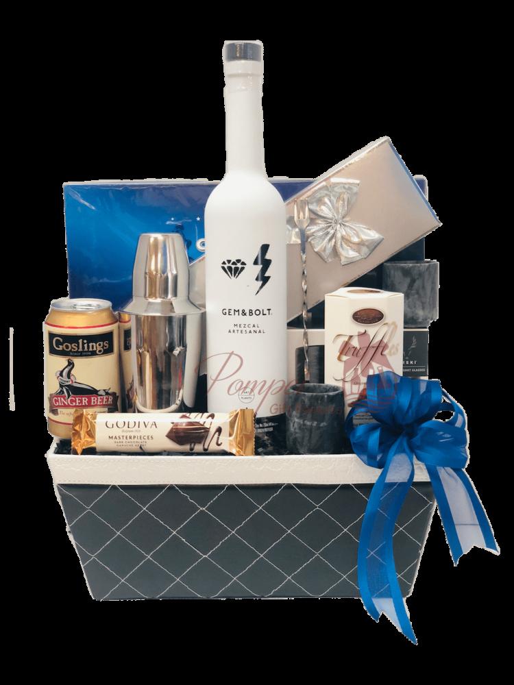 Something Blue Mezcal Gift Basket, mezcal Gifts, Engraved Mezcal Gifts, GEM&BOLT Gifts NJ, Artisanal Mezcal, Artist Liquor, Female Liquor Brand