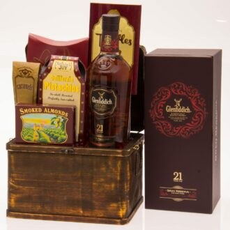 21 Sips Scotch Gift Basket, Glenfiddich Gift Basket, Glenfiddich Gran Reserva Gift Basket, Scotch Gift Basket, Engraved Glenfiddich Gifts, Engraved Scotch Gifts