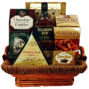 Dew More Tulla Whiskey Gift Basket, irish whiskey gift basket, irish gift basket, st patricks day gift basket, tullamore dew gift basket, st paddys day gifts nj
