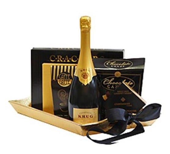 Golden Years Champagne Gift Basket, Krug Gift Basket, Engraved Krug Champagne, Krug Champagne Brut Grand Cuvee Gift Basket, Krug Champagne Brut Grand Cuvee Engraving, High End Champagne Gift Basket
