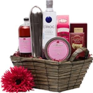 Creative Cosmo Vodka Gift Basket, Cosmopolitan gift basket, pink gift baskets, valentines day gift baskets, vodka gift basket, cosmo gift basket, cocktail gift basket, ciroc gift basket