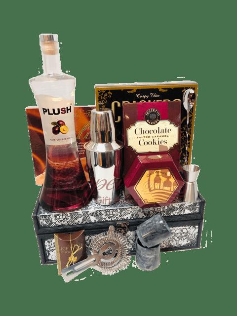 Sophisticated PLUSH Vodka Gift Basket, plush vodka gift basket, Plum Vodka Gifts, Plush Vodka, NFL Gift Baskets, Superbowl Gifts NJ
