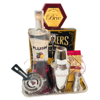 Perfect PLUSH Cocktail Gift Basket, Plush plum vodka, order plush vodka online, plush gift basket, plush plum vodka cocktails