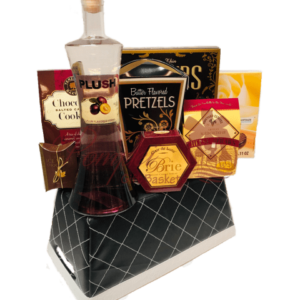 PLUSH Pickings Vodka Gift Basket, plush vodka, order plush vodka online, engraved plush vodka, plum vodka, superbowl gifts,