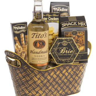 Perfect Score Vodka Gift Basket, Titos Gift basket, Vodka Gift Basket, Inexpensive vodka gift basket, Send Vodka Gift Basket, Gluten Free Gift Basket