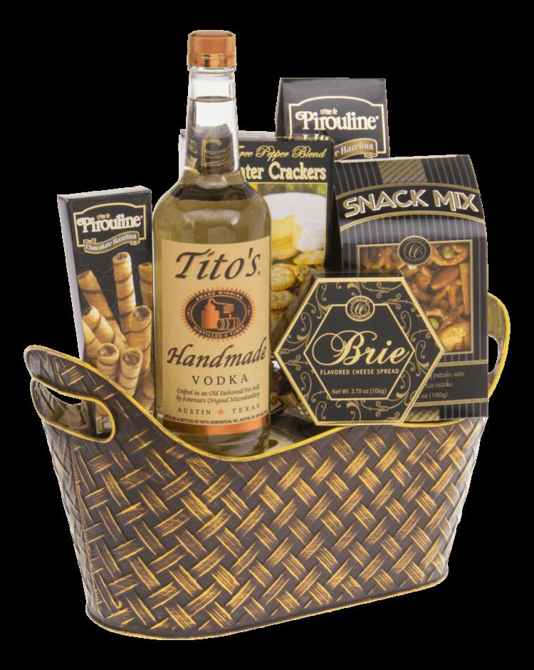 Perfect Score Vodka Gift Basket, Titos Gift basket, Vodka Gift Basket, Inexpensive vodka gift basket, Send Vodka Gift Basket, Gluten Free Gift Basket