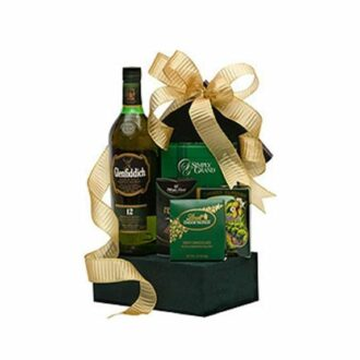Glenfiddich to the Finish Scotch Gift Basket, GLENFIDDIch gift basket, scotch gift basket, green gift basket, engraved glenfiddich