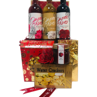Dozen Roses Wine Gift Basket, dozen roses wine, valentines day gift baskets, Wine Gift baskets, Gift baskets that express love, 3 Wine Gift baskets, dozen roses wine