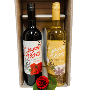 Red & Yellow Roses Wine Gift Basket, Dozen Roses Wine, Valentines Day Gifts for her, Wines that express love, Engraved Wine, Wine Gift Set