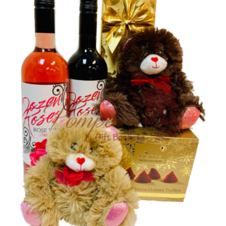 Beary Much in Love Wine Gift Basket, Dozen Roses Wine, Dozen Roses Wine Gift Basket, Valentines Day Gifts, Valentines Gifts for her,