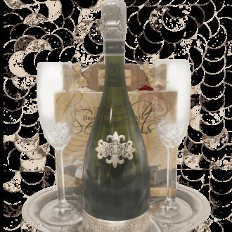 It's a Celebration Sparking Wine Gift Basket, segura viudas gift basket, sparkling wine gift basket, engraved wine gift basket, engraved segura viudas,