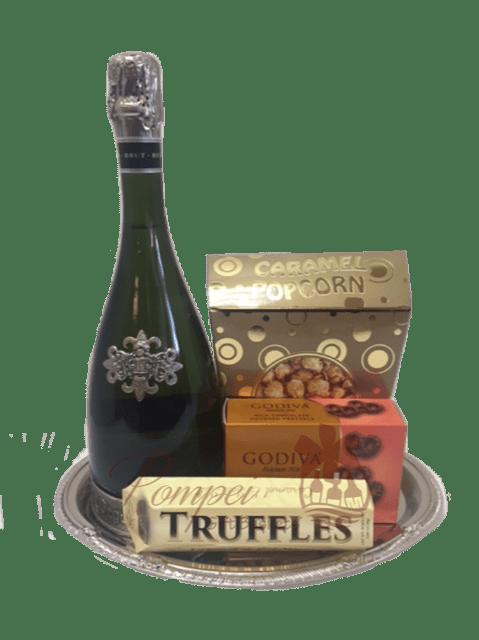 Simple Cava Sparkling Wine Gift Basket, Segura Viudas Gift basket, Sparkling Wine Gift Basket, Sweets and wine gift basket, engraved segura viudas