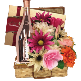Pinkies Up Prosecco Gift Basket, Bottega gift basket, italian gift basket, flower and champagne gift basket, champagne and chocolate gift basket, rose gold gift basket