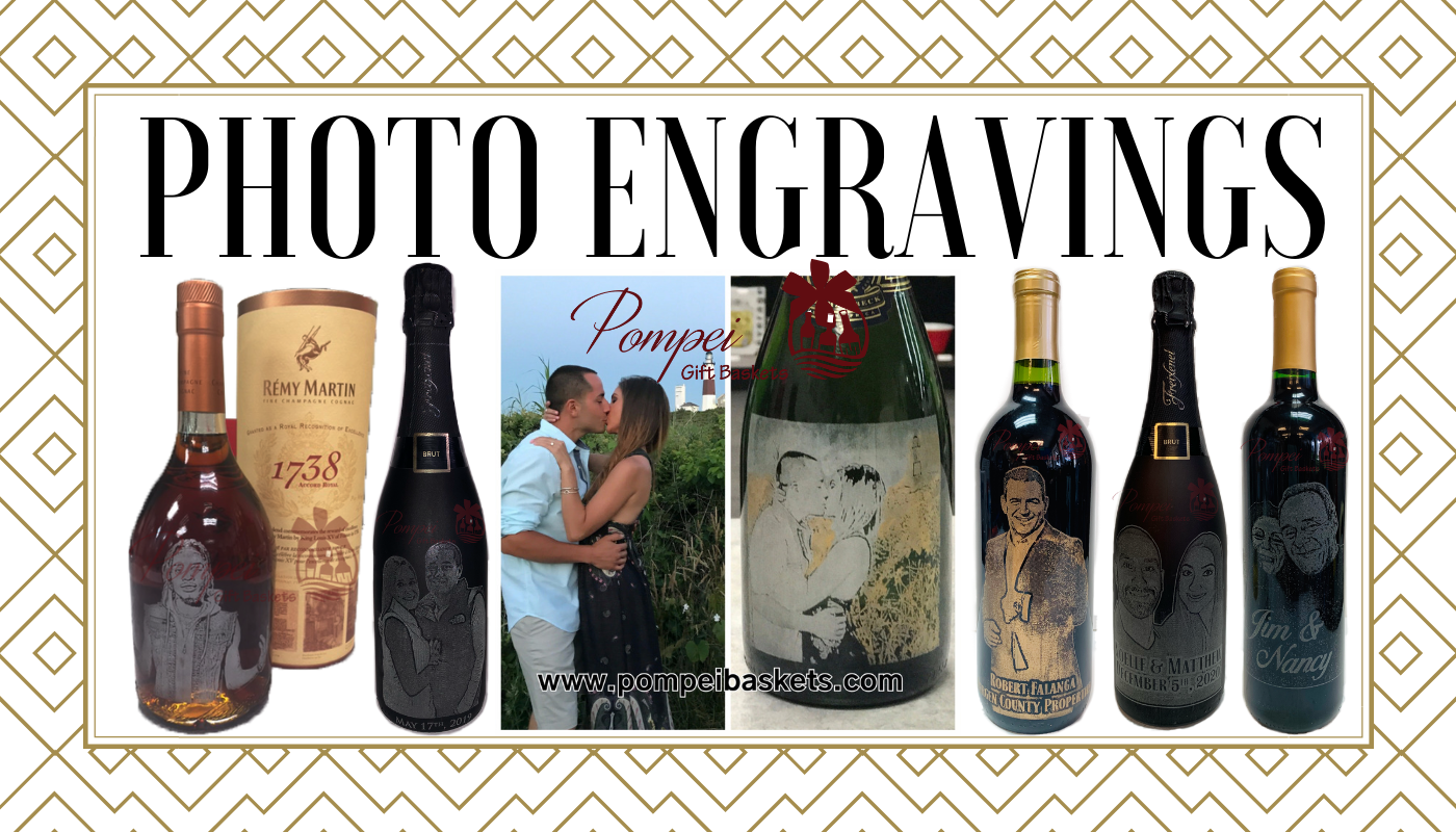 photo engravings, engagement champagne gifts, anniversary engagement gifts, custom photo gifts, photo etched wine bottles, photo etched champagne gifts, photo etched liquor gifts, custom photo gifts, engraved photo gifts