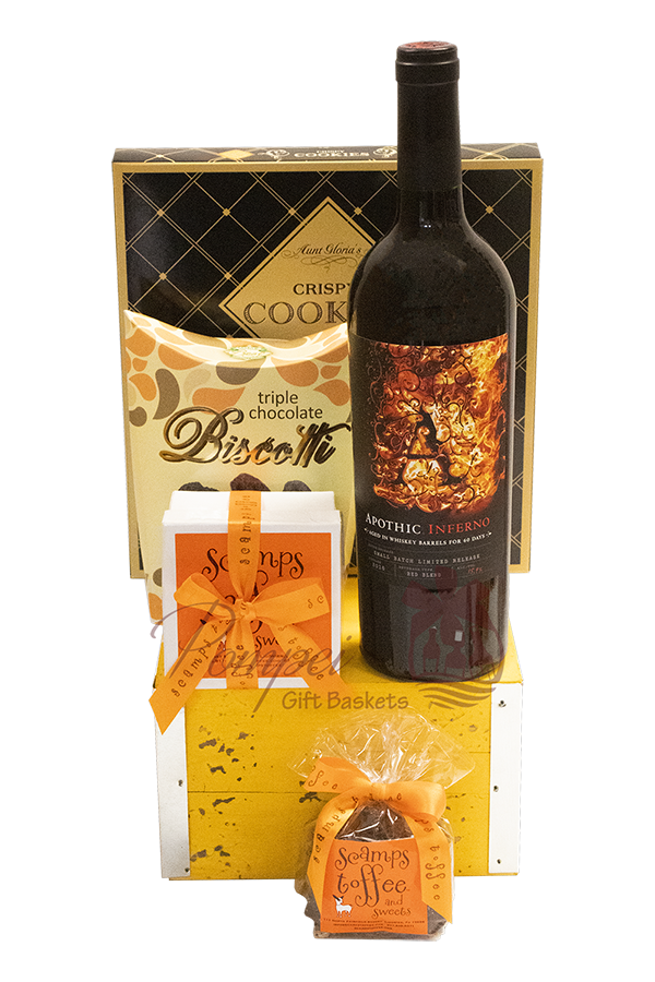Light of my Eyes Wine Gift Basket, apothic gift basket, wine gift basket, apothic inferno gifts, engraved apothic inferno, apothic gifts, scamps toffee, scamps toffee gifts