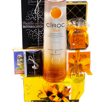 Peachy Keen Ciroc Vodka Gift Basket, ciroc gift basket, engraved ciroc, ciroc gifts, vodka gift basket, Christmas Gift Basket, ciroc gifts, customized ciroc