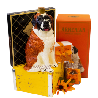 Saint Bernard Brandy Gift Basket, St. Bernard brandy, Dog Brandy, Dog Shaped Brandy bottle, Gifts for St Bernard Lovers, Saint Bernard gifts, Dog Gift Baskets, Brandy Gift Baskets, Dozortsev products
