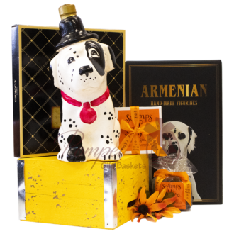 Dalmantian Brandy Gift Basket, Dalmantian brandy, Dog Brandy, Dog Shaped Brandy bottle, Gifts for St Dalmantian Lovers, Dalmantian gifts, Dog Gift Baskets, Brandy Gift Baskets, Dozortsev products