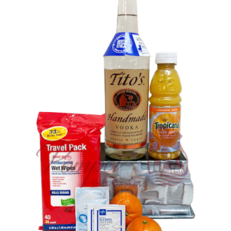 Vitamin C Vodka gift basket, Titos gift basket, vodka gift basket, engraved titos gift basket, vitamin c gifts, corona virus survival kits, covid19 kits, covid19 gift ideas, corona virus gift ideas,