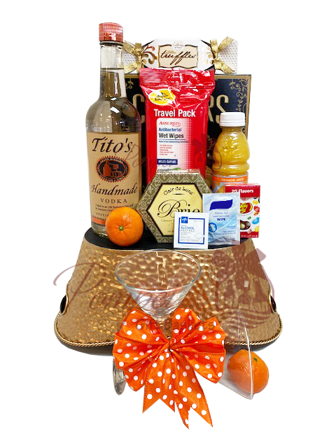 Coronavirus Vodka Gift Basket, Titos Gift Basket, Quarantini gift basket, funny gag gifts, tito vodka gifts, engraved titos, Martini Gift Basket, Coronavirus Martini Gifts