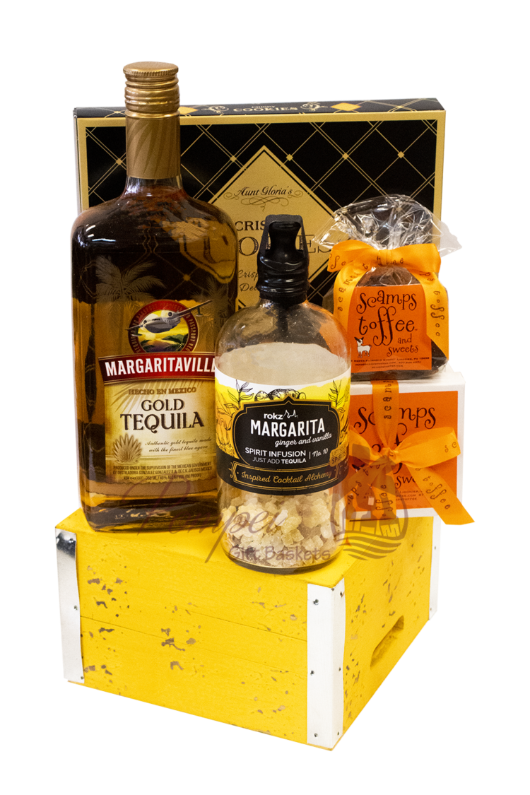 Margarita Momma Cocktail Gift Basket, Margarita Gift Basket, Mothers Day Gifts, Mothers Day Ideas, Covid19 Gift Ideas, quarantine gift ideas, cocktail gift basket, tequila gift baskets, rokz spirit infusions, scamps toffee and sweets