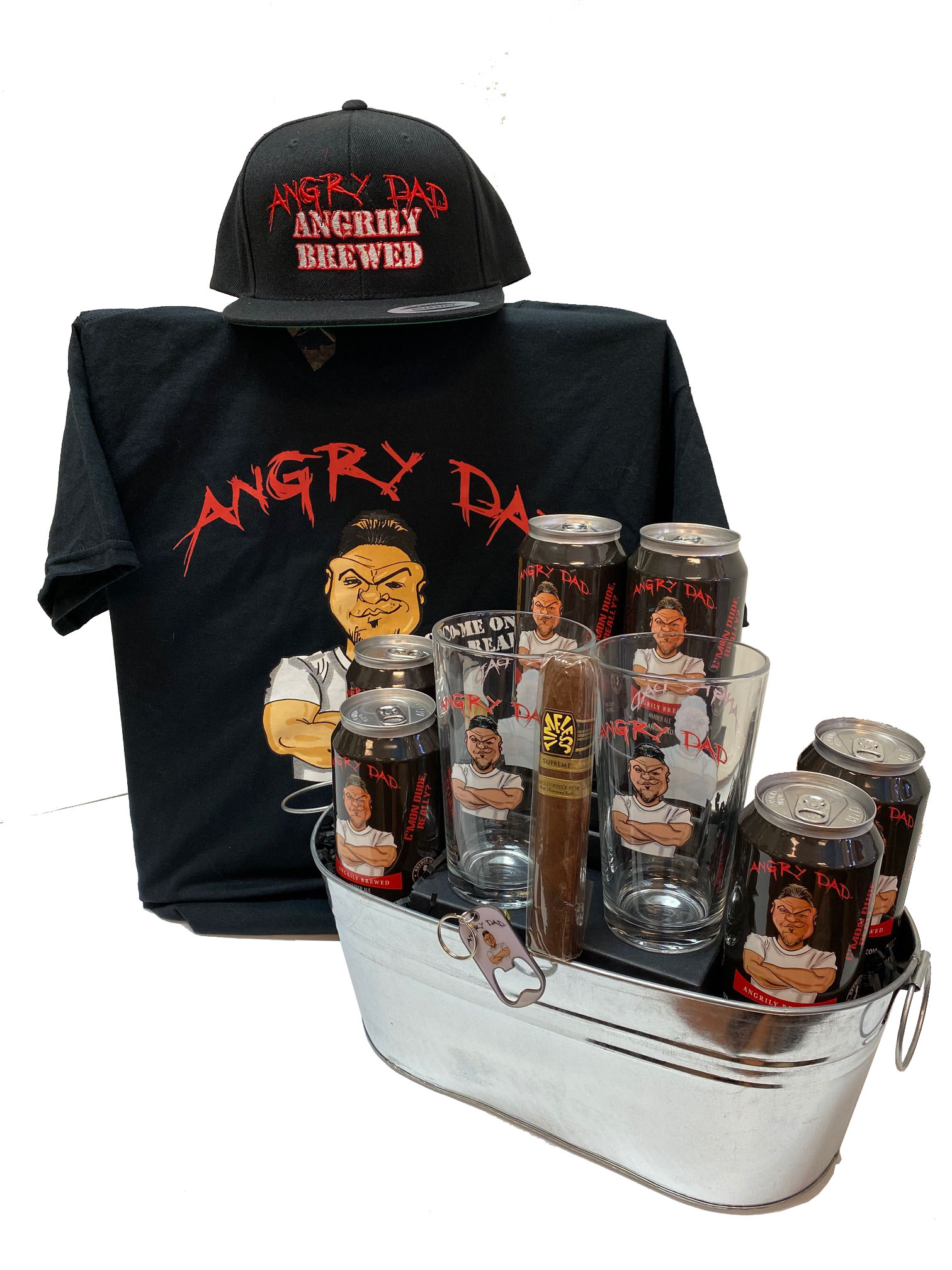 Deluxe Angry Dad Beer Gift Basket by