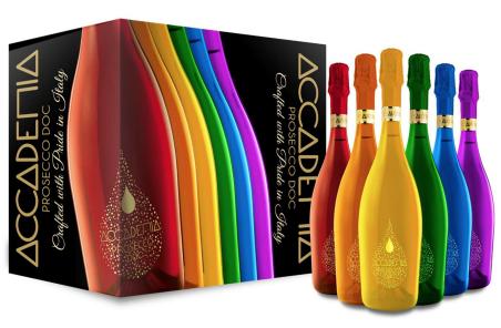 Bottega PRIDE Accademia Prosecco, pride bottega, pride prosecco, rainbow alcohol, pride themed liquor, engraved bottega, rainbow prosecco, lgbtq friendly liquor