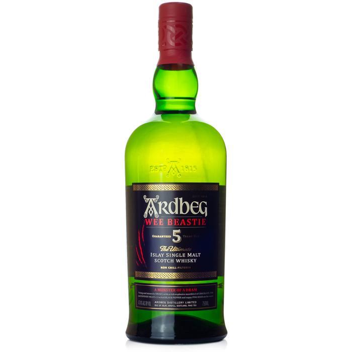 Ardbeg Wee Beastie Single Malt Scotch, Unique scotch whiskey, smokey single malt, single malt scotch, engraved scotch, engraved ardbeg, ardbeg gift basket