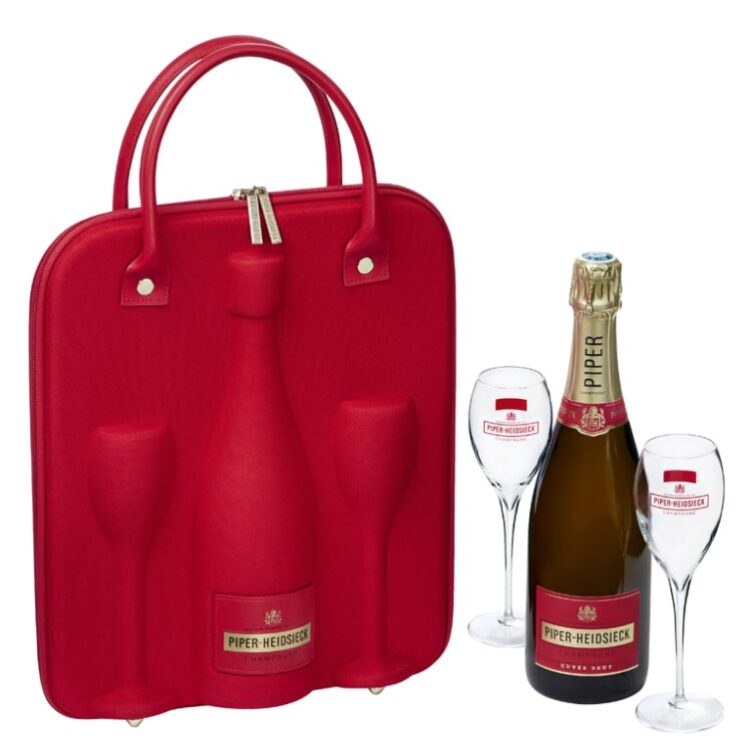 Piper-Heidsieck Brut Champagne Picnic Carrier, Champagne Gift Set, Engraved Piper Heidsieck, Piper Heidsieck Gift Set, Piper Heidsieck Gift Basket, Insulated Champagne Carrier